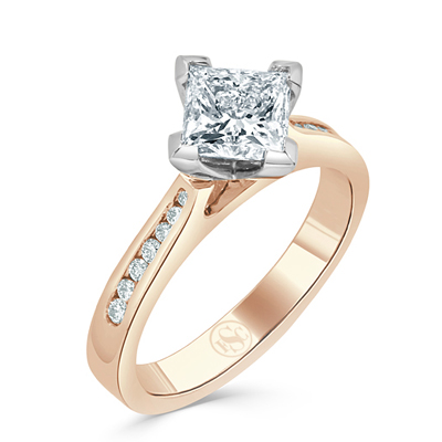 Diagonally Set Princess Cut Diamond Engagement Ring in 18ct Rose Gold
