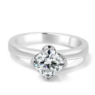 Cushion Cut Diamond Solitaire Engagement Ring in 18ct White Gold - Platinum / Palladium