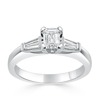 Emerald Cut and Tapered Baguette Diamond Trilogy Engagement Ring in 18ct White Gold - Platinum / Palladium