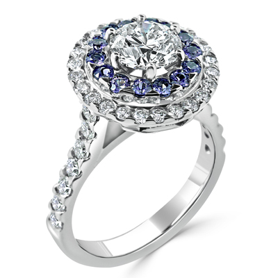 Round Brilliant Cut Diamond Double Halo Dress Ring with Argyle Blue Diamonds