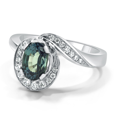 Alexandrite and Diamond Dress Ring in 18ct White Gold - Platinum / Palladium