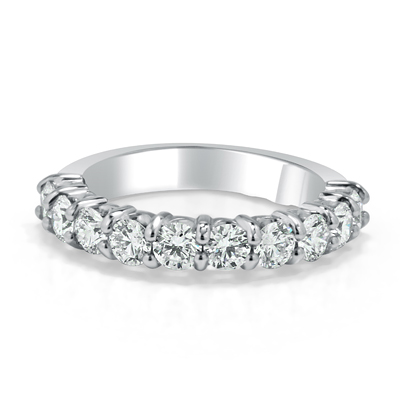 Hand Made Ladies Wedding Ring in 18ct White Gold - Platinum / Palladium Set with Round Brilliant Cut Diamonds in Shared Claw Settings