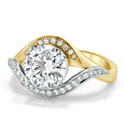 Round Brilliant Cut Diamond Two-Tone Engagement Ring