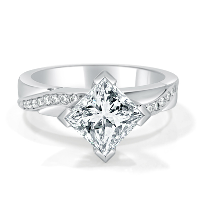 Princess Cut Diamond Engagement Ring Asymmetric Design