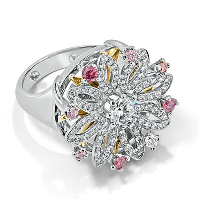 Round Brilliant Cut Diamond Floral Dress Ring with Pink Argyle Diamonds