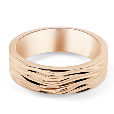 Wave Motif Custom Mens Wedding Ring in 18ct Rose Gold