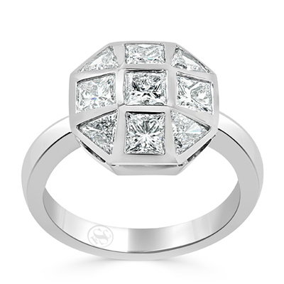 Princess and Trilliant Cut Mosaic Cluster Engagement Ring