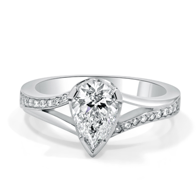 Pear Shape Diamond Engagement Ring with Diamond Set Shoulders