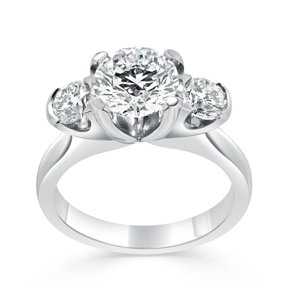 Round Brilliant Cut Diamond Trilogy Engagement Ring in 18ct White Gold - Platinum / Palladium