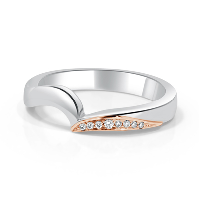 Custom Made Female Wedding Ring in 18ct White Gold - Platinum Palladium Featuring Bead Set Round Brilliant Cut Diamonds in 18ct Rose Gold
