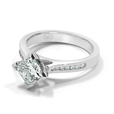 Diagonally Set Princess Cut Diamond Engagement Ring in 18ct White Gold - Platinum / Palladium