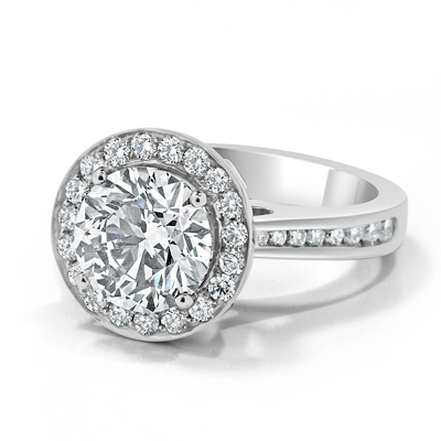 Champagne Diamond Halo Dress Ring in 18ct White Gold - Platinum / Palladium