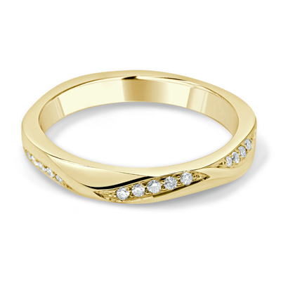 Bespoke Ladies Wedding Ring in 18ct Yellow Gold Bead Set with Round Brilliant Cut Diamonds