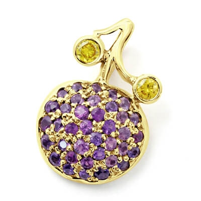 Bespoke Blueberry Pendant Design in 18ct Yellow Gold Featuring Purple Sapphire and Yellow Diamonds