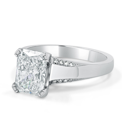 Radiant Cut Diamond Engagement Ring in 18ct White Gold - Platinum / Palladium