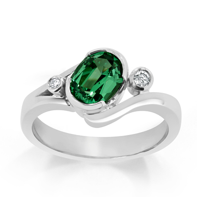 Tsavorite Garnet and Round Brilliant Cut Diamond Trilogy Ring in 18ct White Gold - Platinum / Palladium