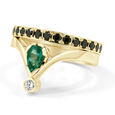 Emerald and Black Diamond Dress Ring in 18ct Yellow Gold