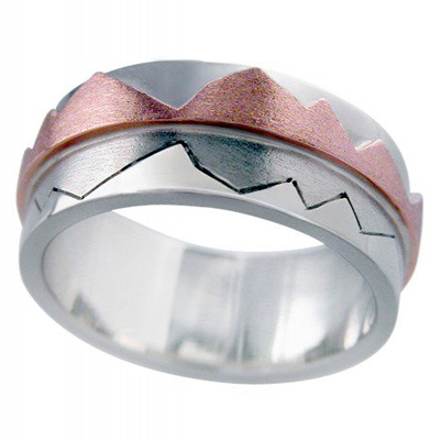 Mountain Reflection Men's Bespoke WEdding Ring in 18ct Rose and White Gold