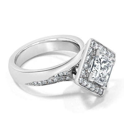 Princess Cut Diagonally Set Halo Engagement Ring
