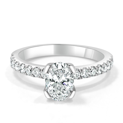 Oval Shape Diamond Engagement Ring with Diamond Set Band