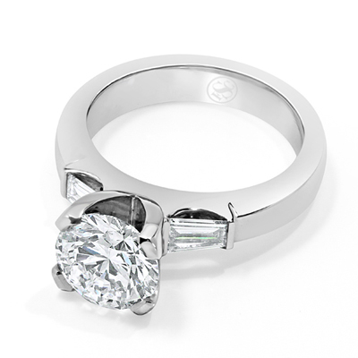 Round Brilliant Cut and Tapered Baguette Diamond Trilogy Engagement Ring