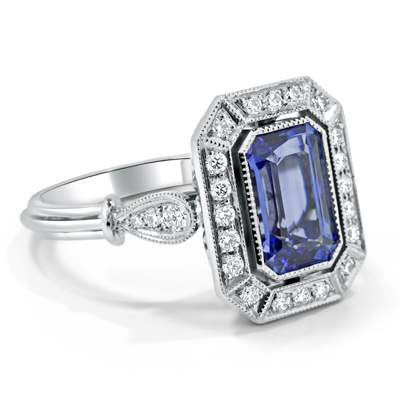 Ceylon Sapphire and Diamond Art Deco Halo Dress Ring in 18ct White Gold - Platinum / Palladium