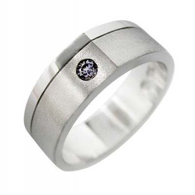 Mens WEdding Ring in 18ct White Gold and Flush Set with a BLue Argyle Diamond