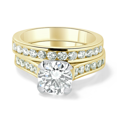 Matching Engagement & Wedding Ring Channel Set with Round Brilliant Cut Diamonds