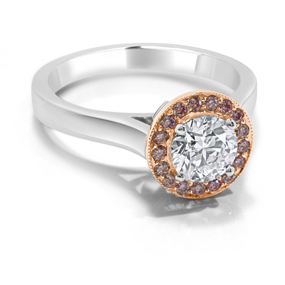 White and Pink Diamond Ring Engagement