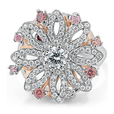 White and Pink Argyle Diamond Ring for Sale
