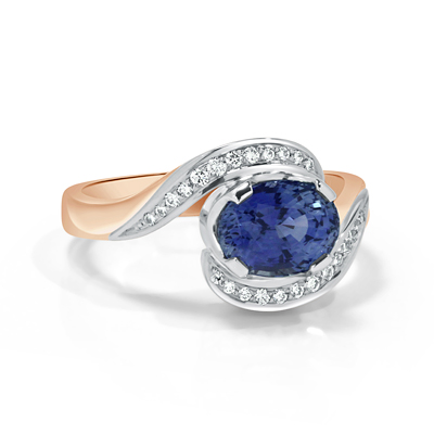 Sri Lanka Sapphire and White Diamond Dress Ring