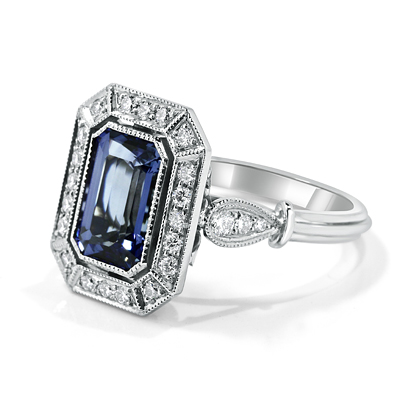 Ceylon Emerald Cut Sapphire in Antique Halo Diamond Ring