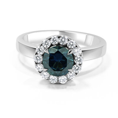 Teal Coloured Sapphire and Diamond Halo Engagement Ring