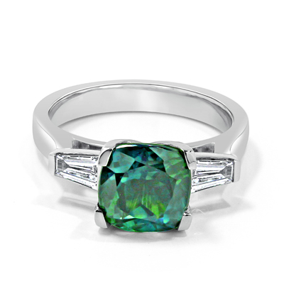 Blue Green Sapphire and Tapered Baguette Diamond Ring