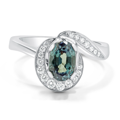 Alexandrite and Diamond Halo Engagement Ring
