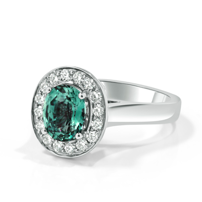 Colour-Change Alexandrite and Diamond Halo Engagement Ring