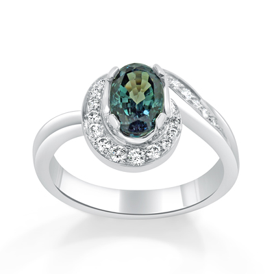 Natural Alexandrite and Diamond Halo Engagement Ring