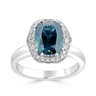 Alexandrite and Tapered Diamond Halo Dress Ring