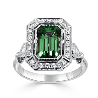 Antique Inspired Art Deco Emerald and Diamond Halo Dress Ring
