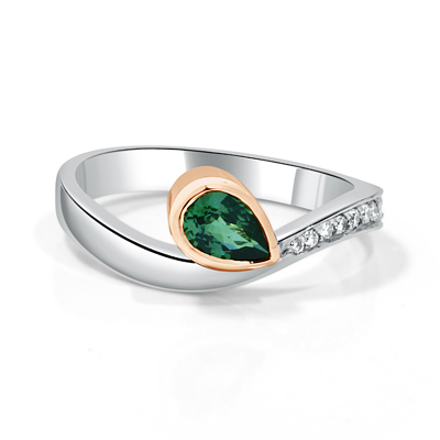Custom Designed Pear Shape Emerald and Diamond Two Tone Ring