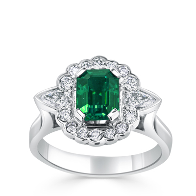 Handmade Art Nouveau Emerald and Scalloped Diamond Halo Dress Ring