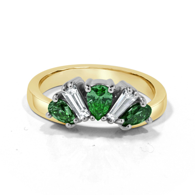 Fitted Emerald and Diamond Wedding Ring