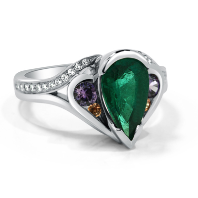 Emerald, Sapphire and Diamond Bespoke Heirloom Ring