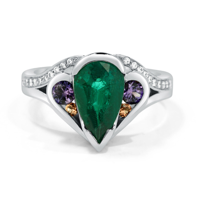 Emerald, Sapphire and Diamond Handmade Birth Ring