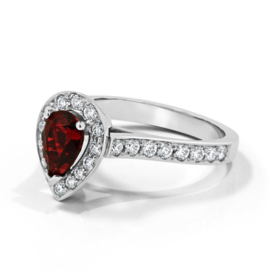 Red Spinel and Diamond Halo Bespoke Engagement Ring