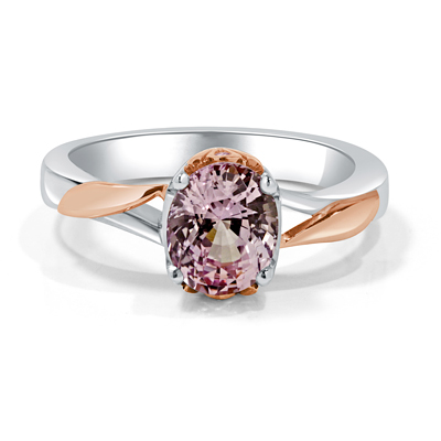 Custom Made Pink Spinel Set in White and Rose Gold Engagement Ring