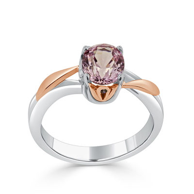 Handmade Pink Spinel Two Tone Engagement Ring