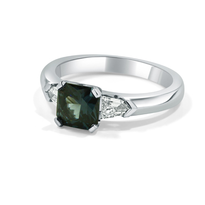 Stormy Blue Spinel and Diamond Trilogy Ring