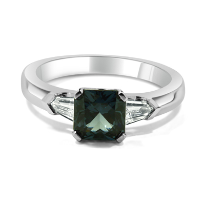One-of-a-kind Blue-Grey Spinel and Diamond Three-Stone Engagement Ring
