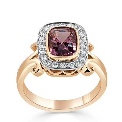 Bespoke Pink Spinel and Diamond Halo Two-Tone Dress Ring